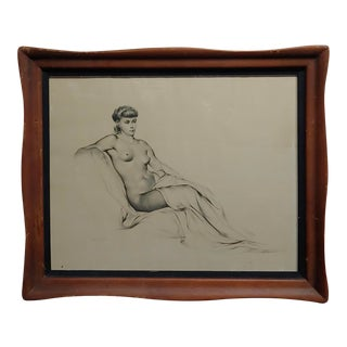 Alexander Cañedo -Profile of a Nude Female- Beautiful Graphite Drawing For Sale