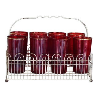 1940s Mid-Century Modern Ruby Red Drinking Glass in Metal Carrying Basket - 11 Pieces For Sale