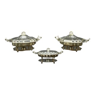Three American Silver Plate Chafing Dishes of Large-scale For Sale