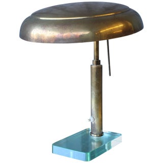 1950s Brass Desk Lamp With Glass Base For Sale