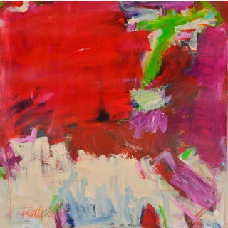 """""""Lime Peach Magenta"""" Contemporary Abstract Expressionist Acrylic Painting by Robbie Kemper For Sale"""