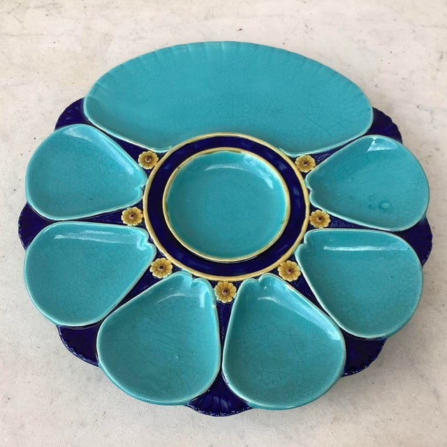 19th-Century Victorian Majolica aqua oyster plate signed Minton. With yellow flowers.