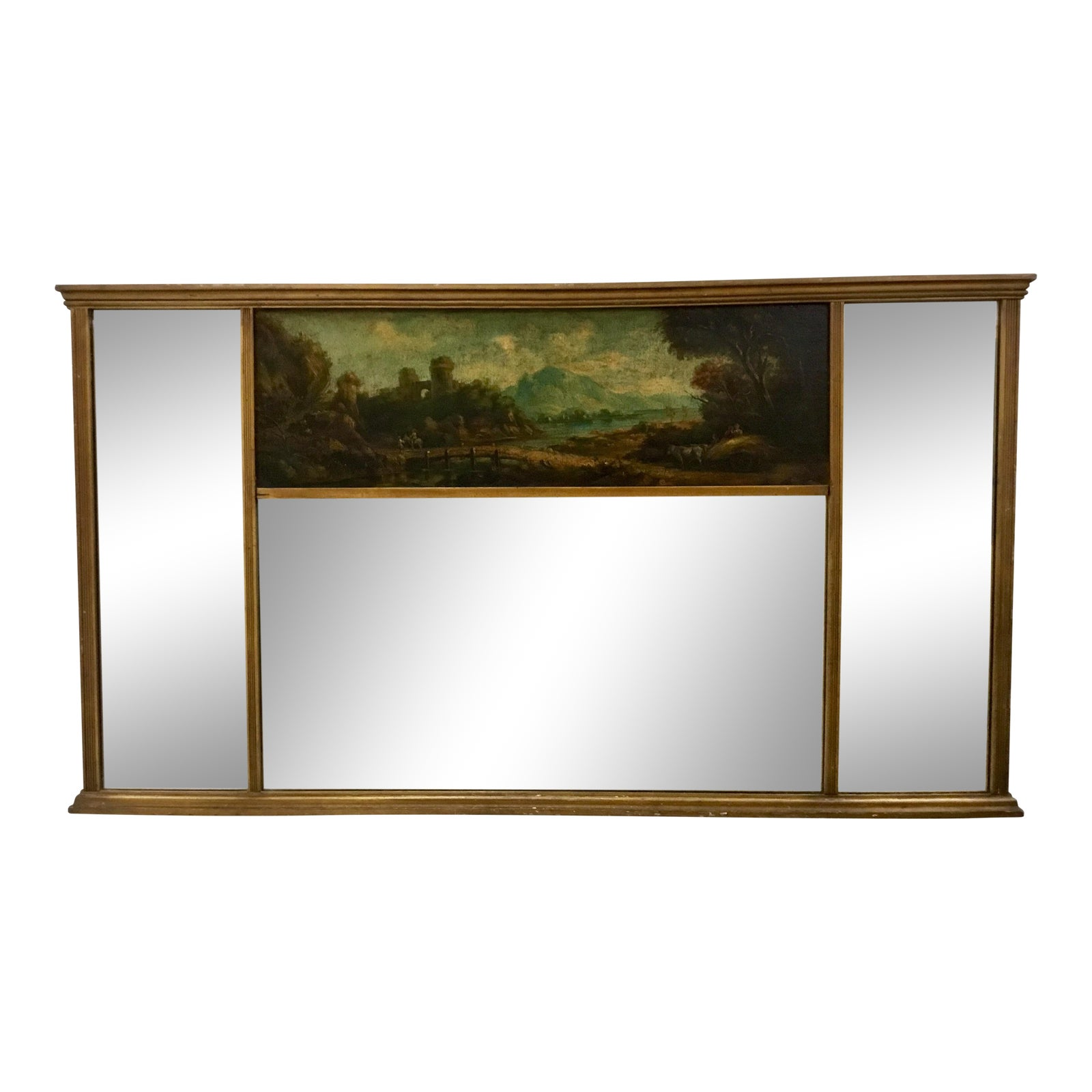 Century Continental With Mirror Painting Mantel Landscape Panel Over Oil On 19th 4qcLj5AR3