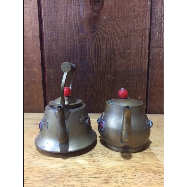 Vintage Brass Jeweled Tea Pots - A Pair - Image 4 of 9