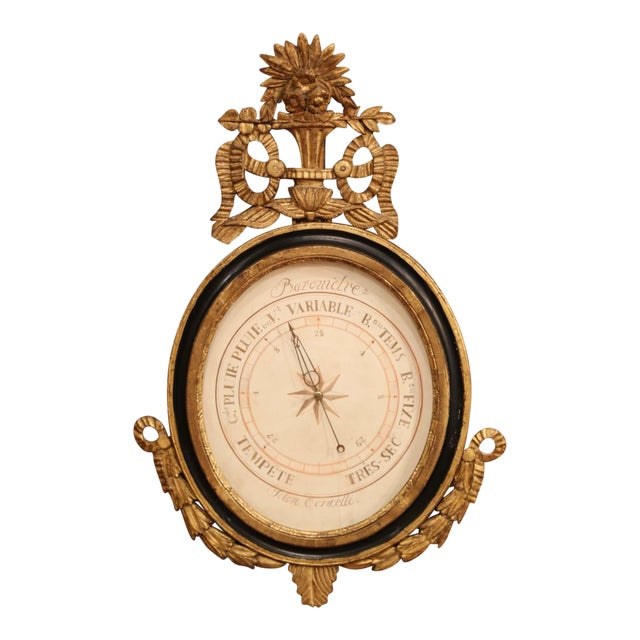 Mid-18th Century French Louis XVI Carved Giltwood Wall Barometer Selon Toricelli For Sale