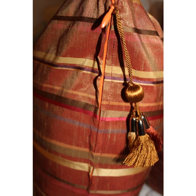 Boho Chic Golden/Copper Taffeta Pillows - a Pair For Sale - Image 4 of 5