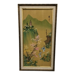 1960s Vintage Original Chinoiserie Pagoda Landscape Framed Painting For Sale