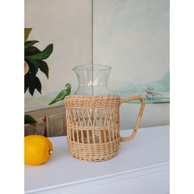 1980s Wicker Carafe Pitcher For Sale - Image 5 of 6