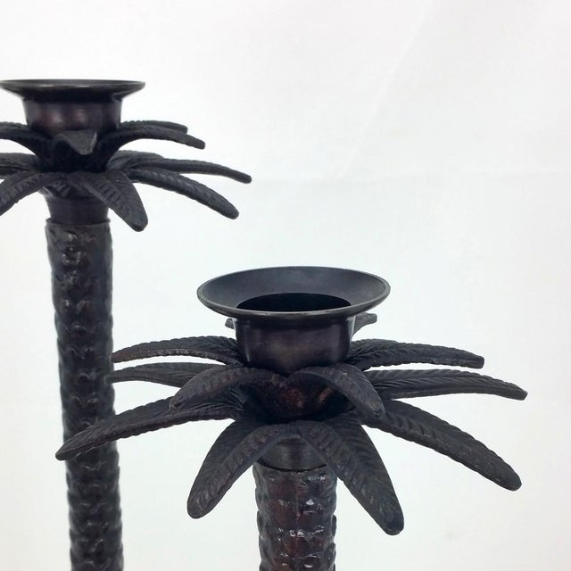 Bronze Palm Tree Candle Holders - Set of 3 For Sale - Image 4 of 6