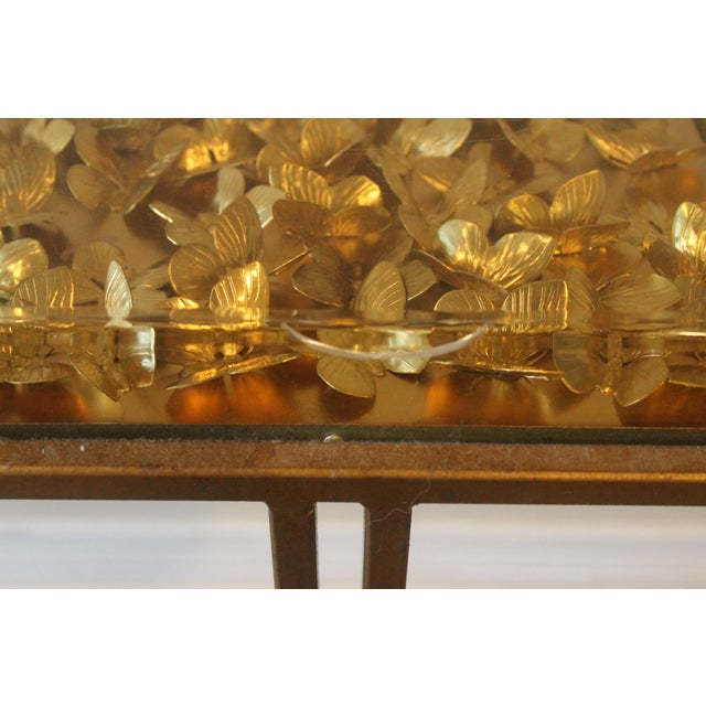 Gold Modern Tommy Mitchell Lucite Butterfly Tray Table For Sale - Image 8 of 9