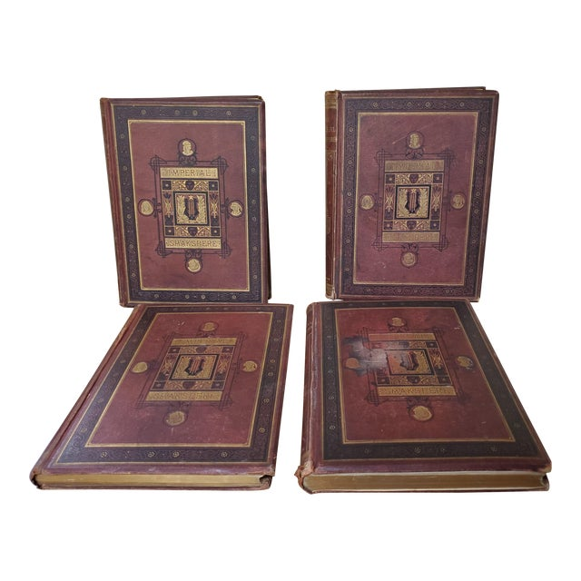 1873 the Works of Shakespeare Books - Set of 4 For Sale