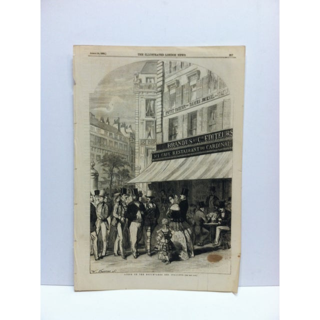 "Mid 19th Century 1855 Antique ""Scene on the Boulevard Des Italiens"" The Illustrated London News Print For Sale - Image 5 of 5"