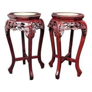 Antique Carved Chinese Rosewood Marble Top Tables - a Pair