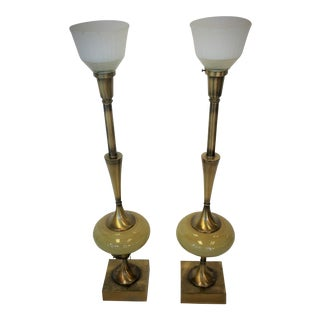 Rembrandt Brass & Ceramic Lamps - A Pair For Sale