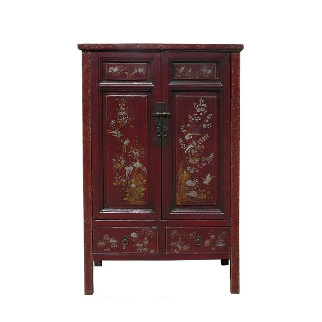 Vintage Chinese Armoire with Flower & Bird Accents For Sale