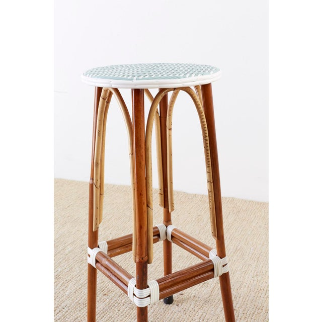 Wood Set of Three Maison Gatti Rattan French Bistro Barstools For Sale - Image 7 of 13