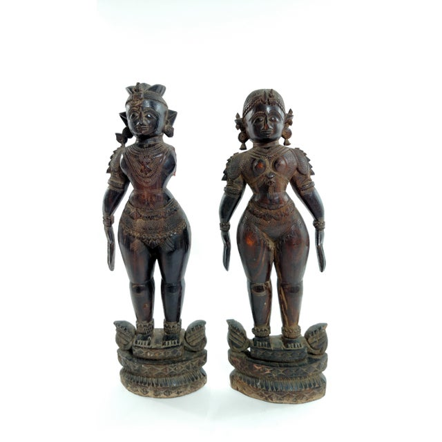 Antique Carved Indian Figures - A Pair - Image 2 of 7
