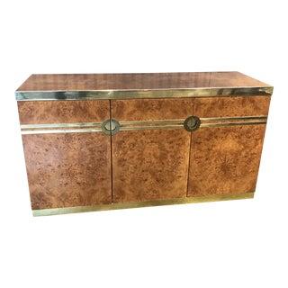 1970's Mid-Century Modern Pierre Cardin Burled Walnut Brass Buffet For Sale