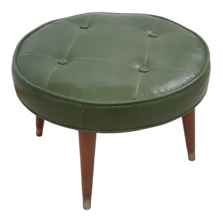 Mid-Century Modern Round Avocado Green Tufted Vinyl/Faux Leather Ottoman For Sale