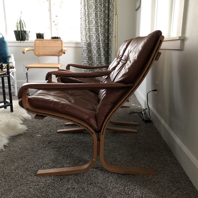 Contemporary Vintage Mid Century Ingmar Relling Westnofa Leather Armchairs- a Pair For Sale - Image 3 of 10