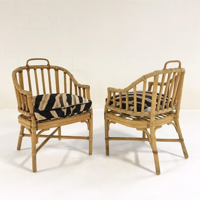 Boho Chic Forsyth Rattan Armchairs with Custom Zebra Hide Cushions - A Pair For Sale - Image 3 of 7