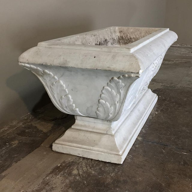 19th Century Louis XVI Carved Carrara Marble Neoclassical Planter For Sale - Image 10 of 11