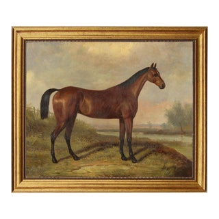 Folk Art Reproduction Oil Painting on Canvas in Solid Composite Frame by William Barraud For Sale