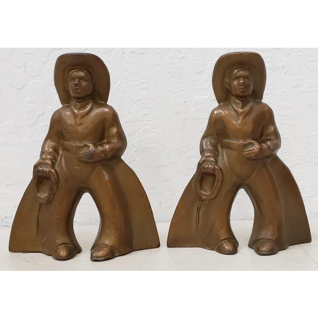 Pair of Vintage Cast Metal and Painted Cowboys C.1940s For Sale In San Francisco - Image 6 of 6