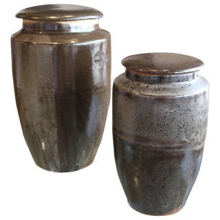 Vintage Steve Chase Retailed Stoneware Pottery Vessels - a Pair For Sale