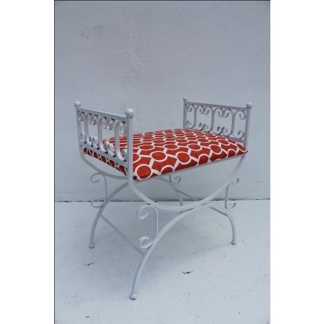 Offered is a vintage wrought iron bench or vanity stool, designed by new york designer Arthur Umanoff for the granada...