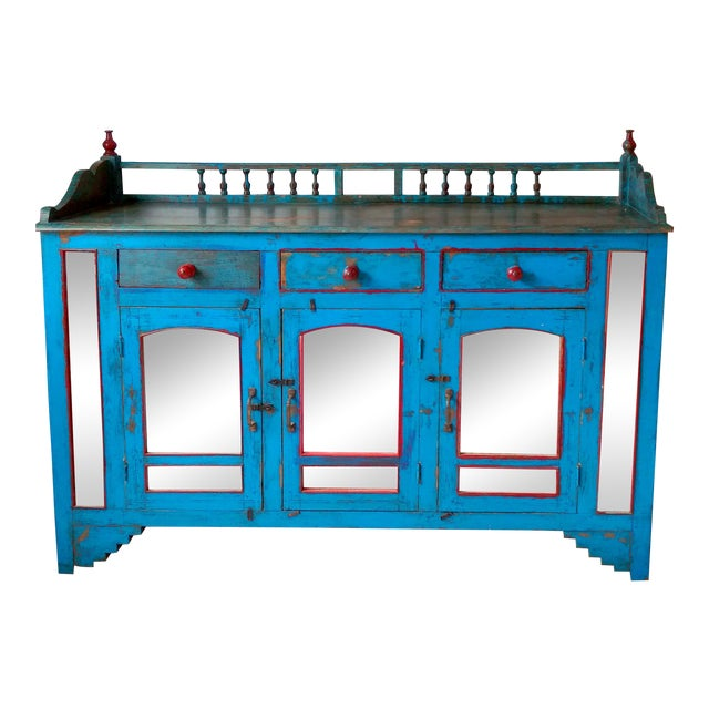 Reclaimed Wood & Antiqued Mirror Farm House Buffet - Image 1 of 11