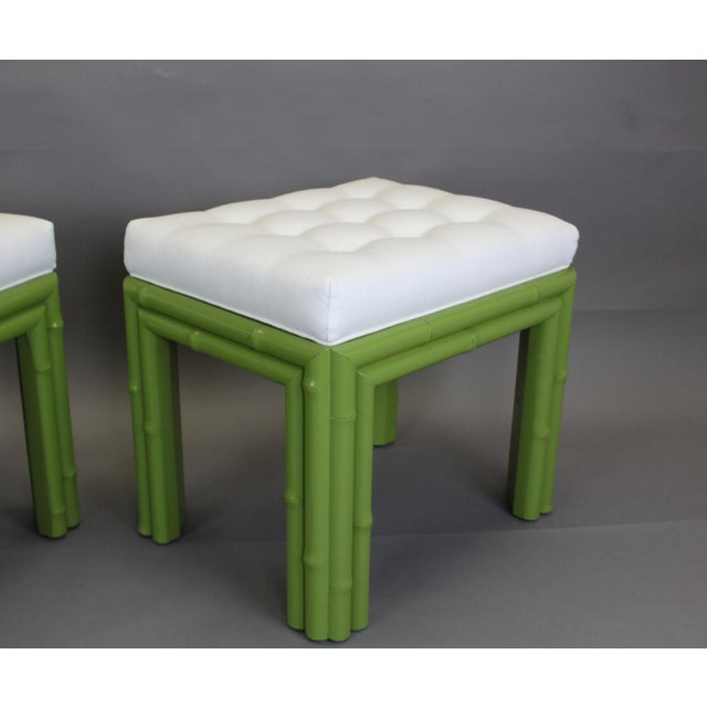 Pair of Faux Bamboo Green Benchches - Image 10 of 11
