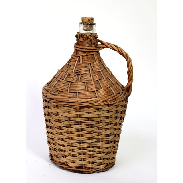 Antique Wicker Covered & Handled Wine Jug With Cork For Sale In Los Angeles - Image 6 of 6