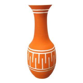 A Tall and Striking American 1960's Orange Glazed Vase With White Ground For Sale