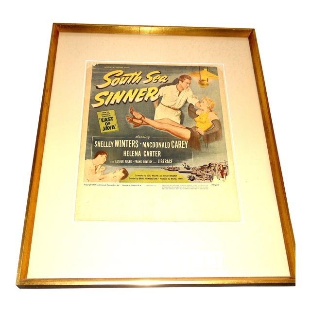 """1949 Movie Poster for Feature Film: """"South Sea Sinner"""" Starring Shelly Winters and Liberace For Sale"""