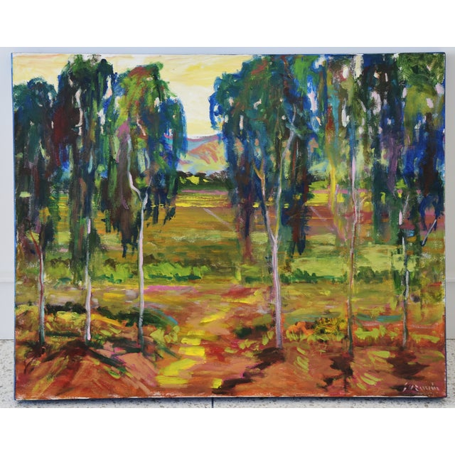 Canvas Juan Guzman Plein Air Santa Barbara Eucalyptus Grove Painting For Sale - Image 7 of 10
