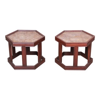 John Keal for Brown Saltman Walnut Hexagonal Side Tables - a Pair For Sale