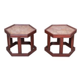 John Keal for Brown Saltman Walnut Hexagonal Side Tables, Pair For Sale
