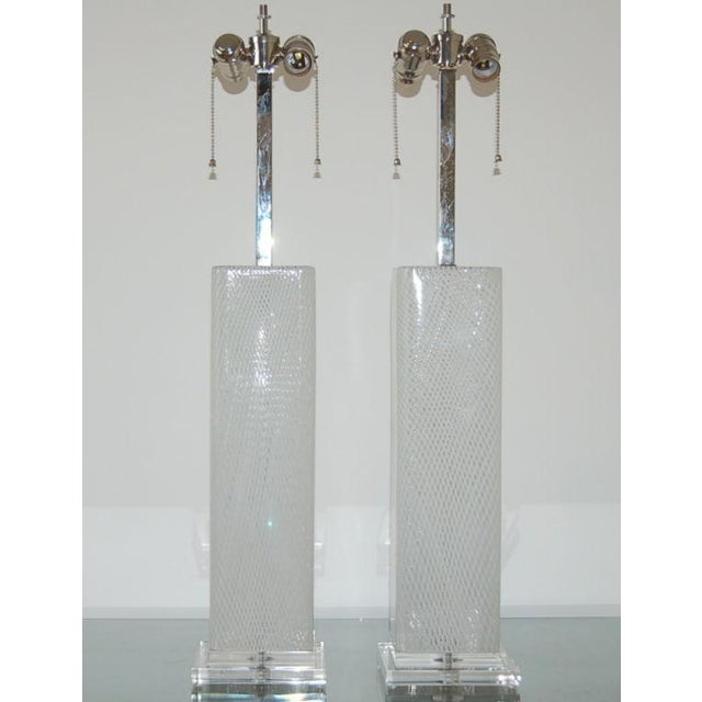 Square lamps? Yes! Vintage, stylish, matched pair of square Venetian Murano glass table lamps! The WHITE CANE filagree...