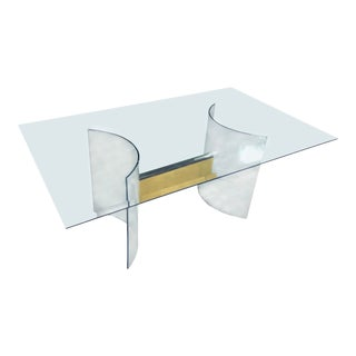 Pace Curved Glass and Brass Table Designed by Leon Rosen For Sale