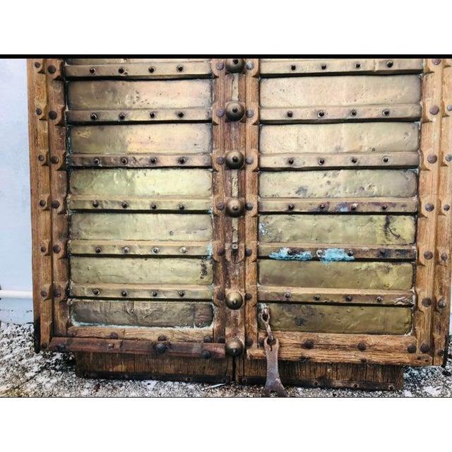 Metal Antique Indian Teak Wood Hand Carved Doors For Sale - Image 7 of 12