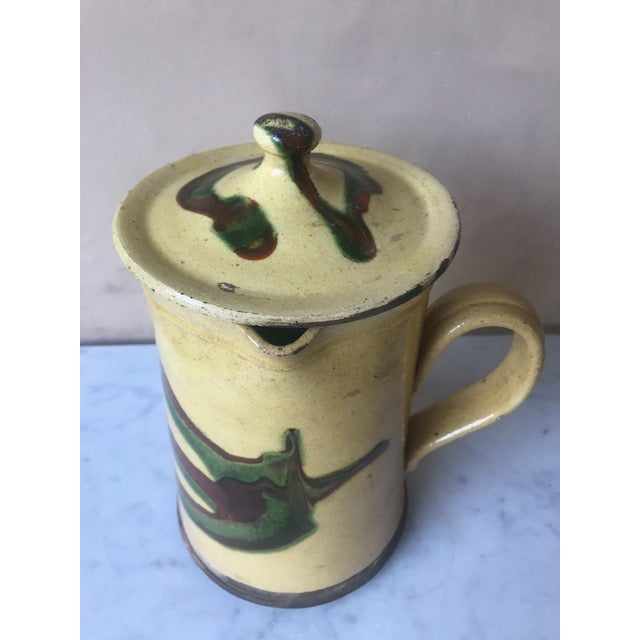 Yellow 19th Century Lidded Jaspe Pitcher For Sale - Image 8 of 12