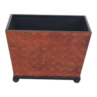 Modern Leather Wrapped Decorator Magazine Basket For Sale