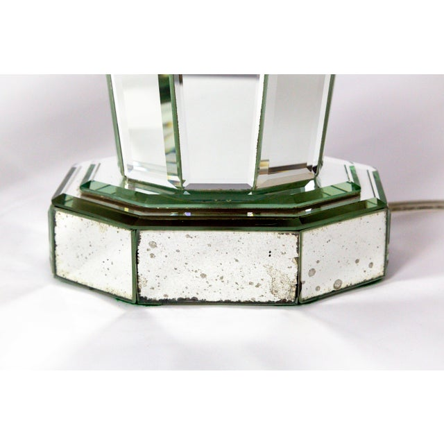 Modern Beveled Mirror & Chrome Lamps W/ Deco Finials - a Pair For Sale - Image 9 of 13