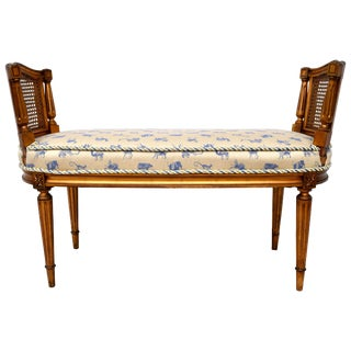 Gilt Caned Louis XVI Style Window Bench For Sale