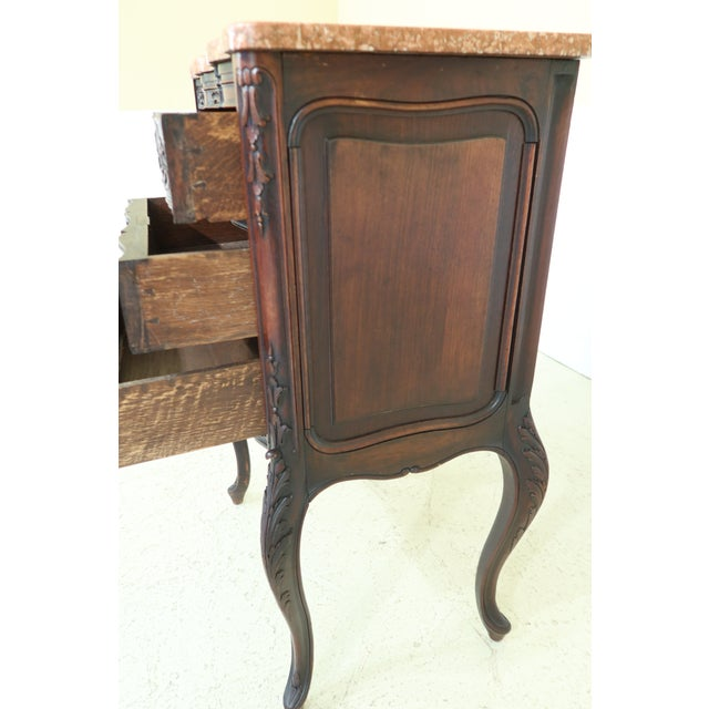 Brown Vintage French Louis XV Marble Top Walnut Chest For Sale - Image 8 of 13