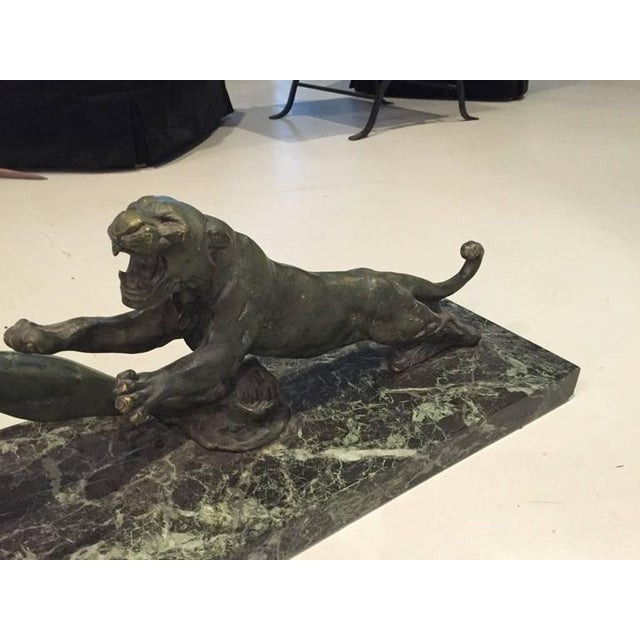 1930s Signed French Art Deco Hunter and Tiger Sculpture For Sale - Image 5 of 10