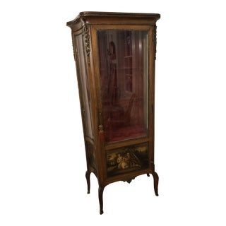 19th Century French Victorian Louis XV Style Painted Vernis Martin Vitrine For Sale