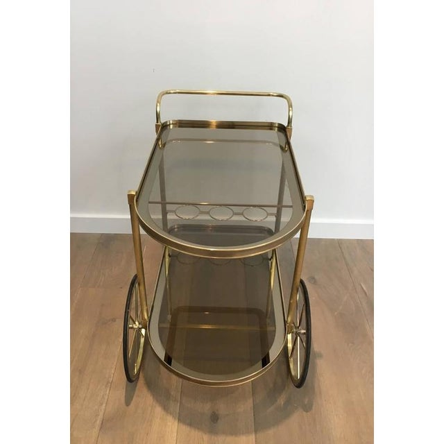 1960s French Brass and Smoked Glass Bar Cart - Image 8 of 11