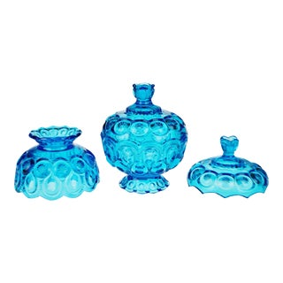 Vintage L.E. Smith Cobalt Blue Candy Dish & Candle Lamp Shade - Set of 3